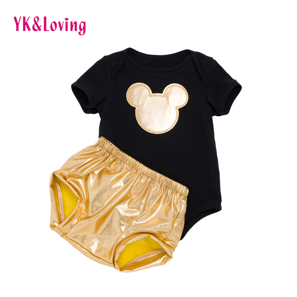 New baby boys clothes 2pcs clothing set black Cotton rompers Golden Cartoon and golden Bloomers shorts newborn Clothes 2018