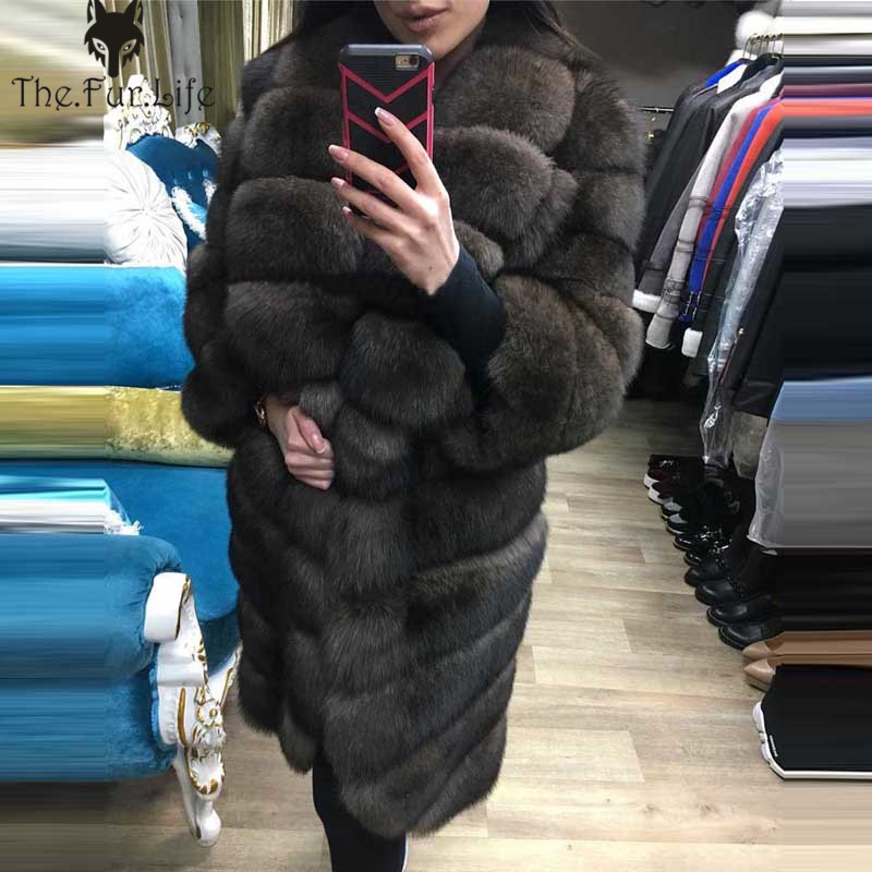 Luxury Whole Skin Natural Real Fox Fur Long Coats For Women's Warm Thick Winter Jackets And Coats Wholesale Big Promotion