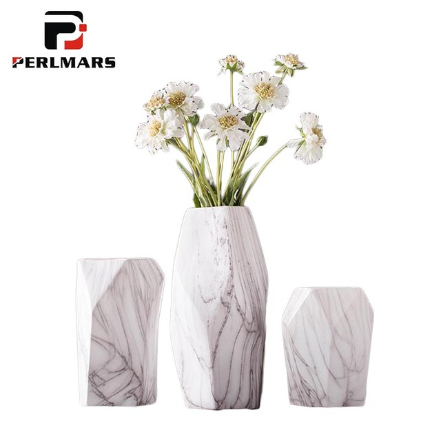 Brief Table Vase Ceramic Marble Texture Artificial Flower Plant