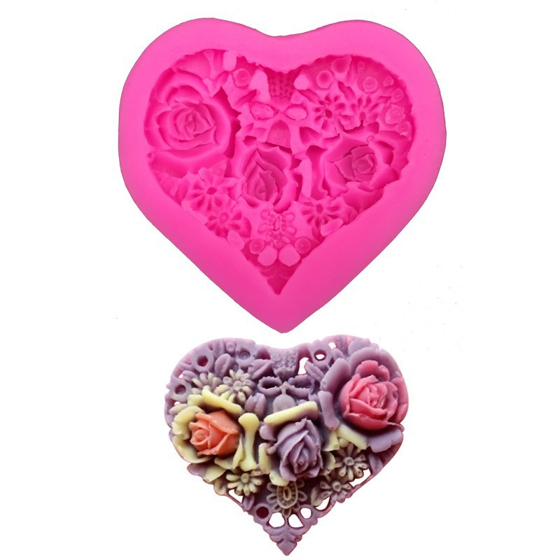 New 3D Love Heart Lace Shaped Silicone Mold DIY Cake Candel Chocolate Soap Mold Mould Fondant Sugar Art Tools For Soap Making