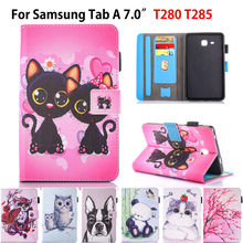 2016 Tab a6 7.0 Case For Samsung Galaxy Tab A 7.0 T280 T285 SM-T285 Case Cover Fashion Cat children Tablet Silicon Leather Funda