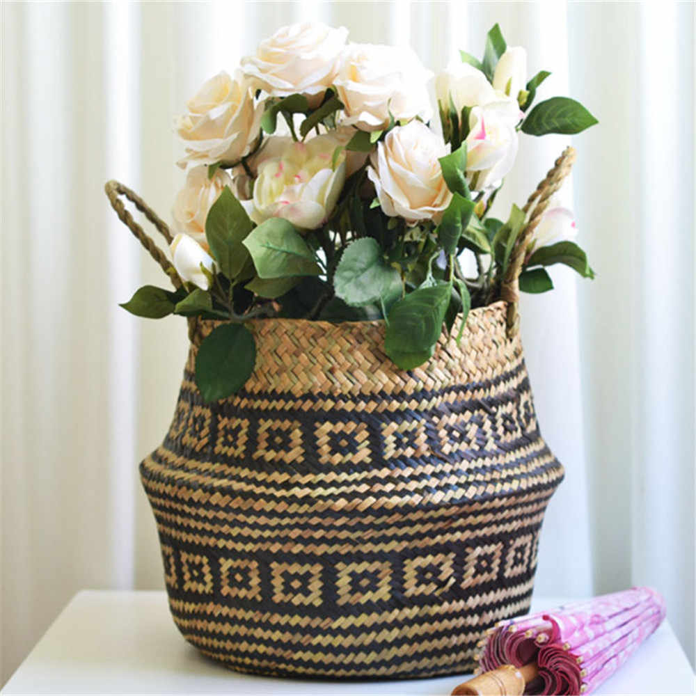 2019 New Arrvial Seagrass Wicker Basket Flower Pot Folding Basket Dirty Storage Basket Rattan Decoration For Home