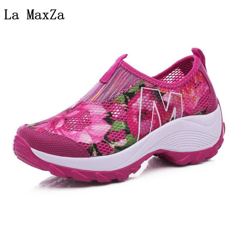 Women Casual Shoes Swing Wedges Breathable Air Mesh Female Slip On Walking Shoes Platform 2018 Summer Style Ladies Sneakers instantarts casual women summer flat shoes cute dog alaskan malamute flower print female air mesh shoes fashion slip on sneakers