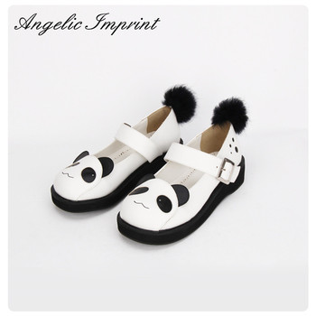 2017 Summer Cute Panda Animal Print Black and White Sweet Lolita Low Heel Wedge Mary Jane Shoes