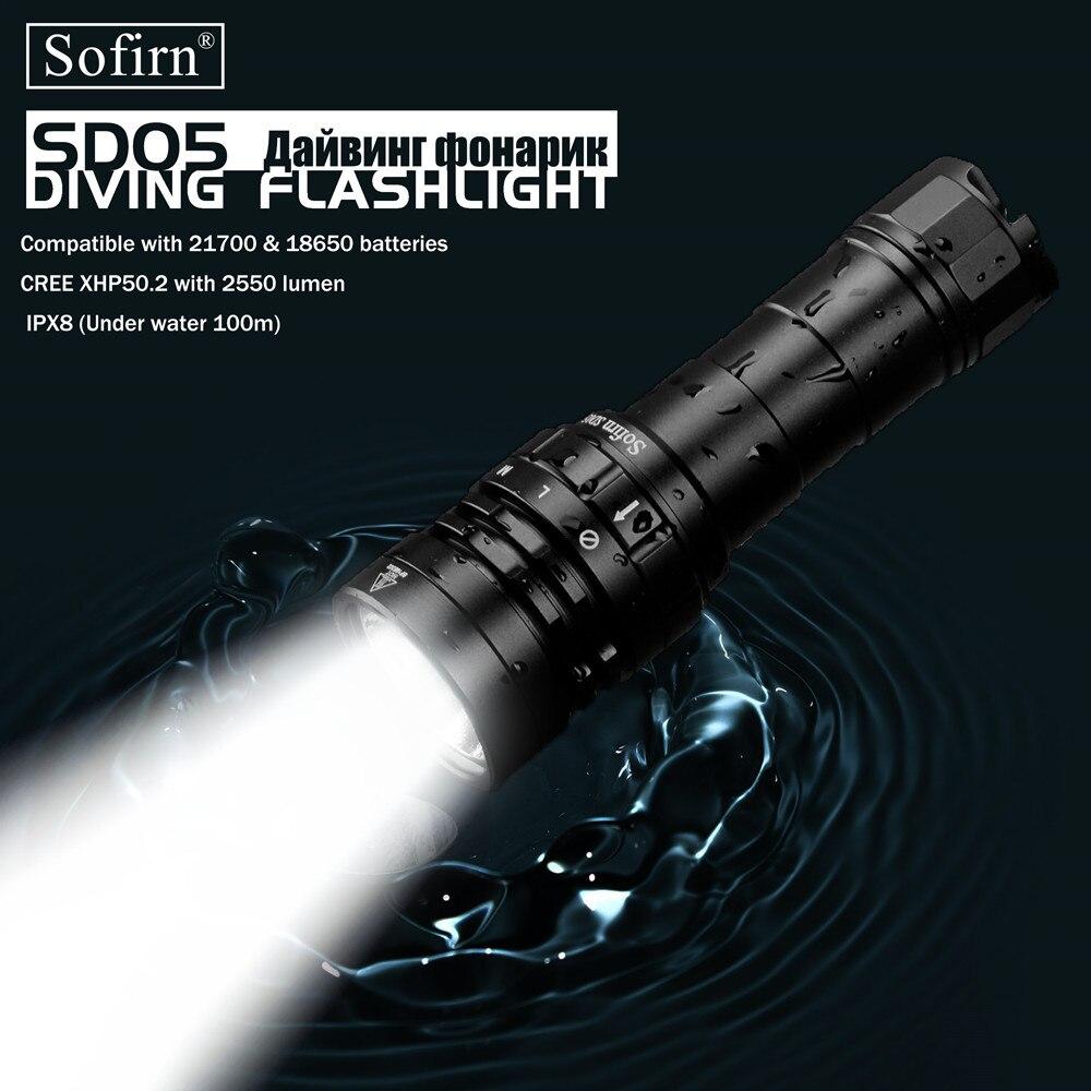Sofirn 새로운 SD05 스쿠버 다이빙 LED 손전등 다이빙 라이트 크리어 XHP50.2 마그네틱 스위치 3 모드와 슈퍼 밝은 2550lm 21700 램프