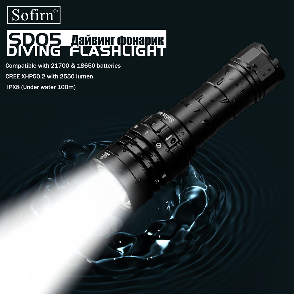 Sofirn New SD05 Scuba Dive LED Flashlight Diving Light Cree XHP50 2 Super Bright 3000lm 21700 Lamp with Magnetic Switch 3 Modes