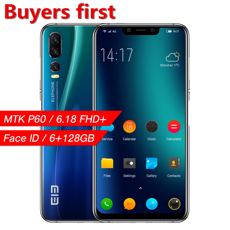 "2019 original Elephone A5 smartphone MT6771 Octa-Core 6.18""FHD 18.7:9 Android 8.1 6GB+128GB 20MP Face ID 4G LTE OTG Mobile Phone"