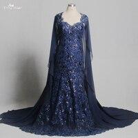 TE021 Королевский Bule Applqiue с вечернее платье с блестками с плащом длинное вечернее платье большого размера