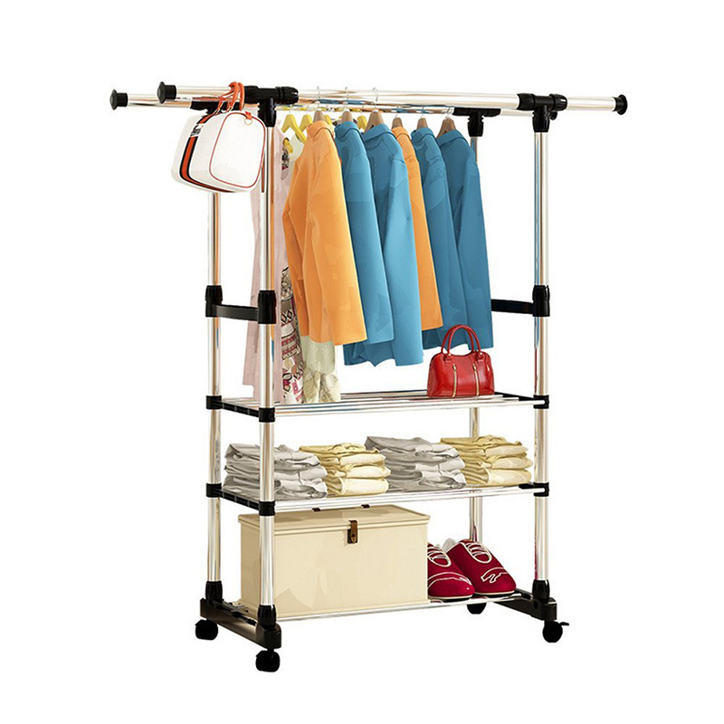 Portable Double Rods Clothes Rack Adjustable Garment Rack With Wheels 3  Tiers Storage Shelves In Hangers U0026 Racks From Home U0026 Garden On  Aliexpress.com ...