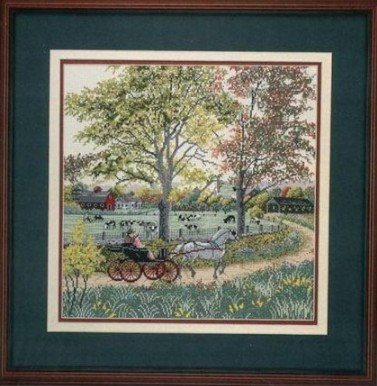 Gold Collection Beautiful Counted Cross Stitch Kit Country Ride Horse Carriage Coach Wagon In Countryside Travel Trip