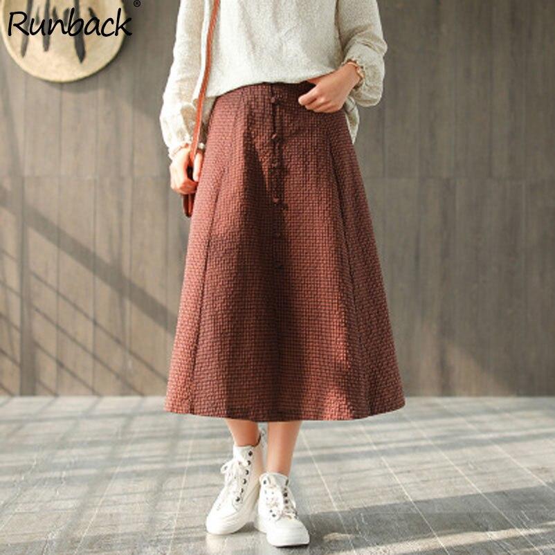 Runback rouge Plaid longue jupe taille élastique taille haute japonais Mori fille école à carreaux Jupes printemps 2019 Saia Jupes