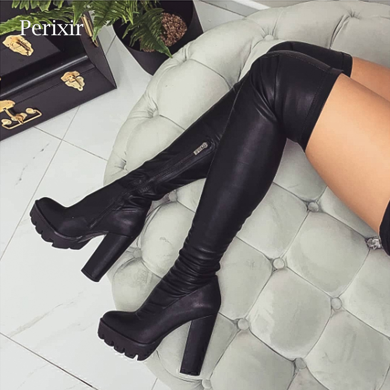 2019 Spring New Flock Leather Women Over The Knee Boots Sexy