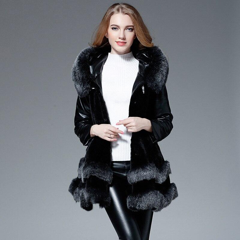 Jackes De Noir bourgogne Renard Capuchon Poilu Rouge Dame À Furry Xl Fourrure Noir Veste Manteau Supérieure Hiver Xxl Qualité Fausse Femelle Femmes Automne BxWw6Yq1