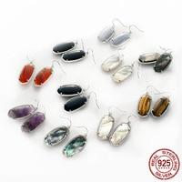 Trendy 100% 925 sterling silver KS Elle Black Pearl Semi precious Stone Statement Earrings noble Modern Jewelry for Women gift
