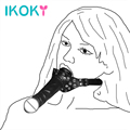 IKOKY Mouth Gag Sex Products SM Bondage Lesbian Masturbation Fake Penis Head Strap Sex Toys for Couples Double-Ended Dildo Gag