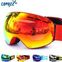 COPOZZ, брендовые лыжные очки, двухслойные, UV400, анти-туман, большая лыжная маска, очки для катания на лыжах, для мужчин и женщин, очки для сноубор...