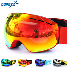 COPOZZ brand ski goggles double layers UV400 anti-fog big ski mask glasses skiing snow men women snowboard goggles GOG-201 Pro cheap UV400 Protection Mirror Coating Multi 9 8cm Polycarbonate 17 8 cm Eyewear Acetate
