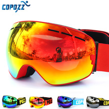 COPOZZ brand ski goggles double layers UV400 anti fog big ski mask glasses skiing snow