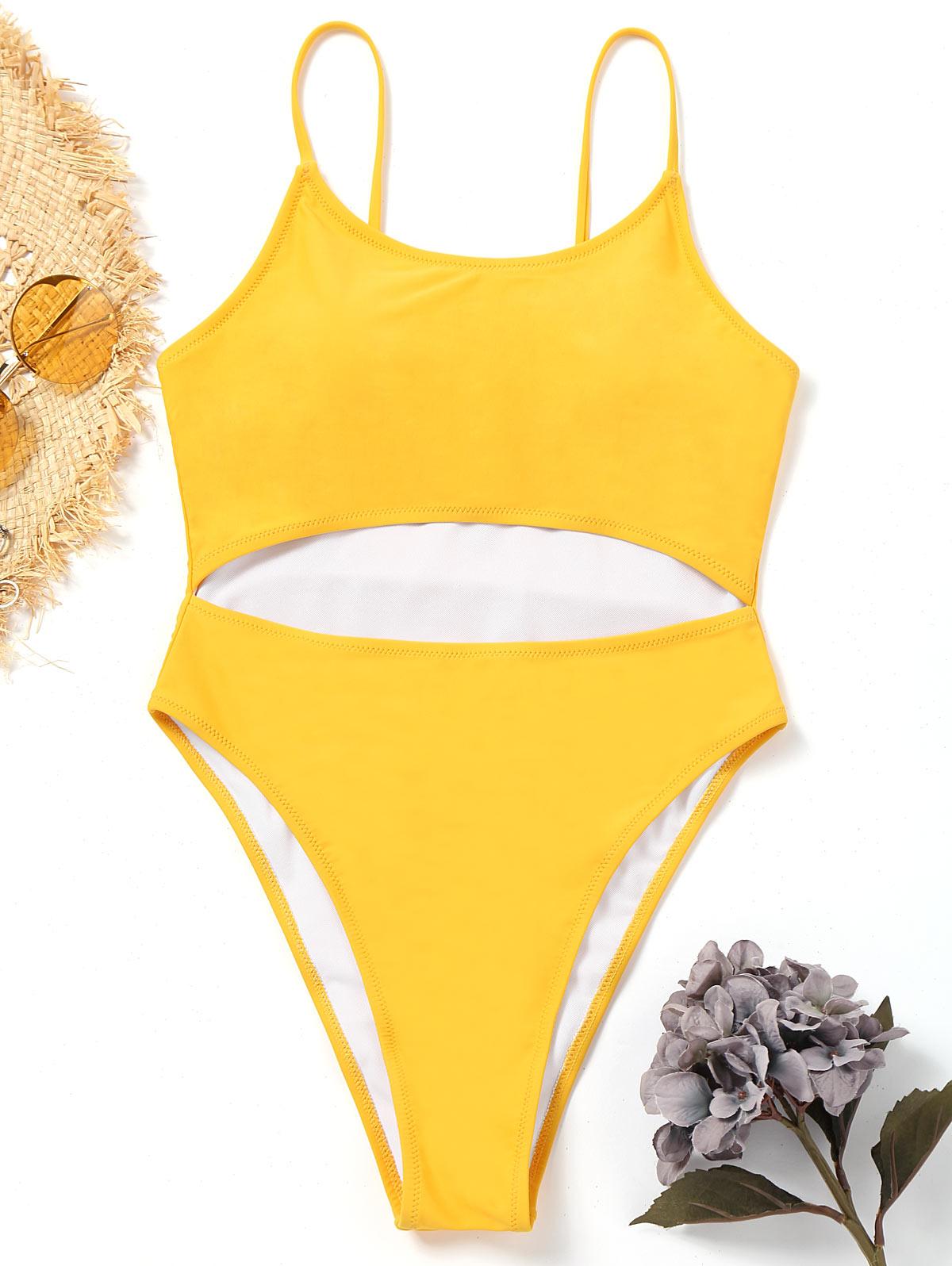 ZAFUL New Women Swimwear One Piece Cut Out High Leg Swimwear Spaghetti Straps Natural Waist Sexy Lady Beach Summer Swimsuit