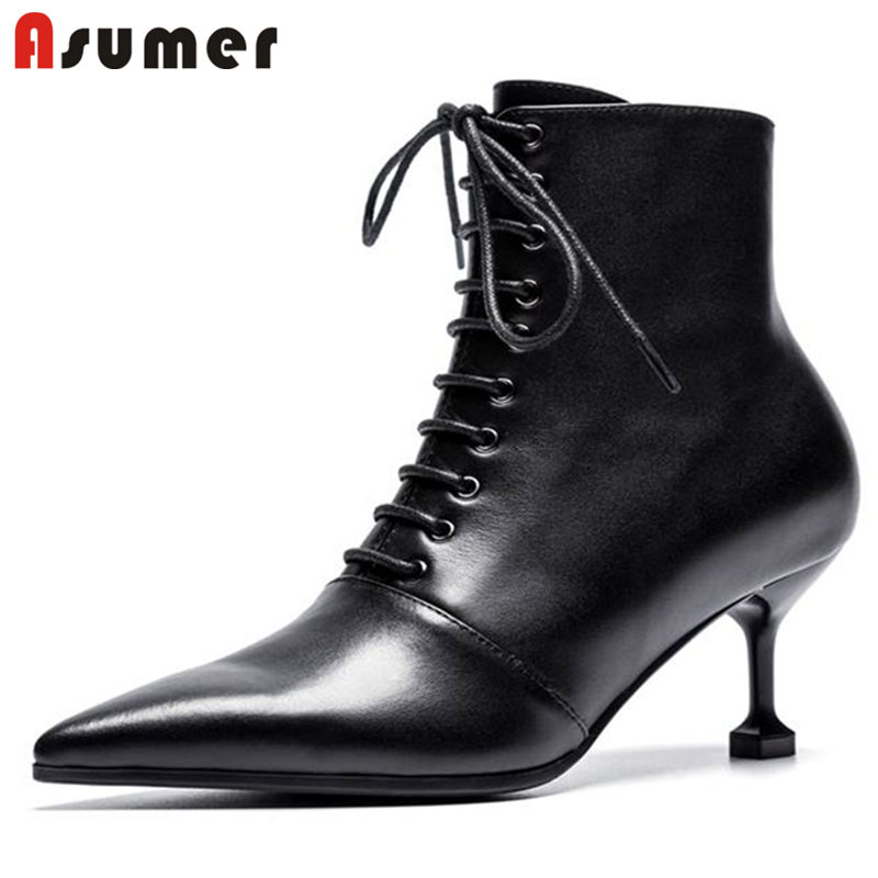 ASUMER 2018 NEW fashion cross-tied zipper ankle boots women genuine leather pointed toe thin high heels boots casual shoes kaeve blue denim lace up ankle boots fashion casual thin heels cross tied pumps round toe cowboy shoes jean snow boots