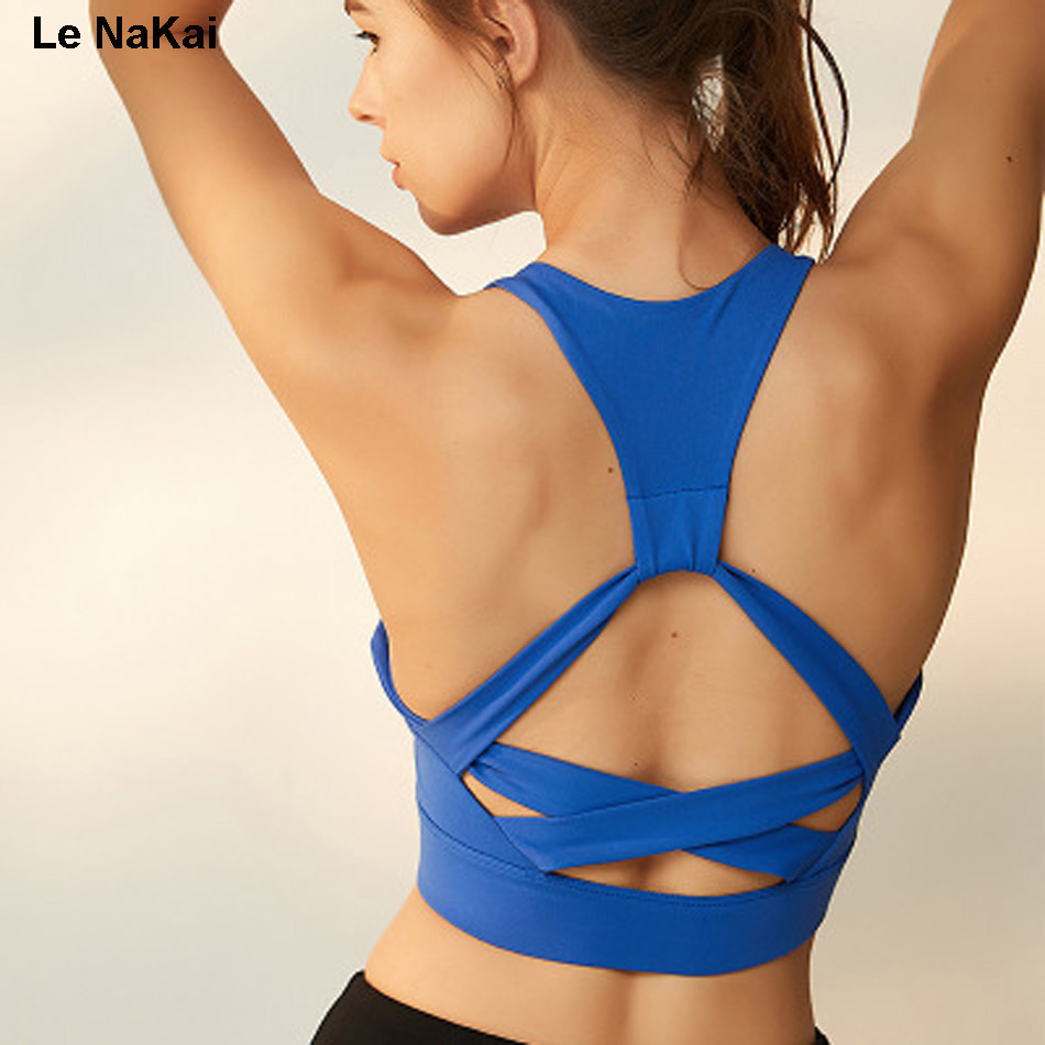 Le NaKai Cross Back Bandage sports bra high impact workout yoga bra for women athletic tank women gym bra athletic spandex bra neon pink cross back design sports bra