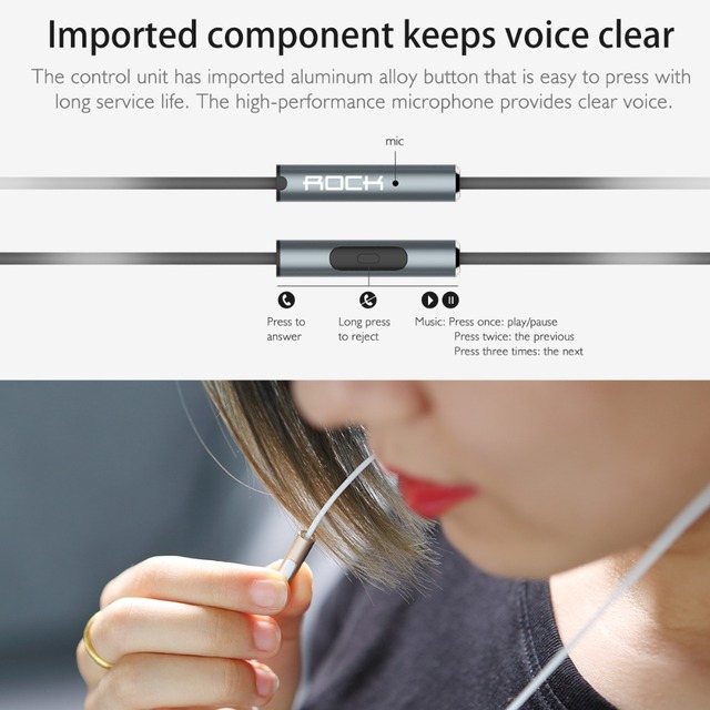 Rock In-Ear Zircon Nano Stereo Earphone 3.5mm AUX Headset With Mic Balanced Immersive Bass Earphones for iPhone Sumsung Xiaomi