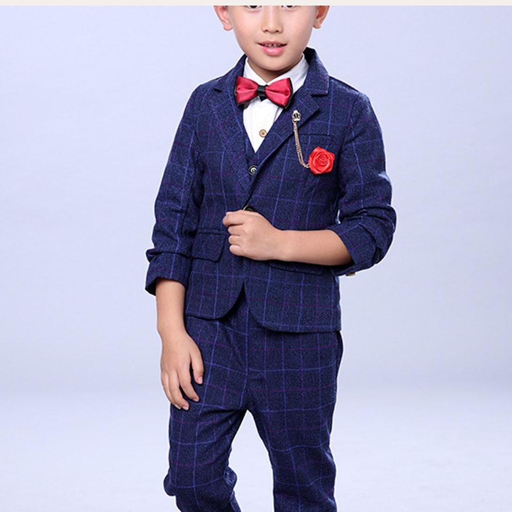 Zēnu kāzu tērpi Bērnu zila jaka + veste + bikses 3 gab. / - Bērnu apģērbi - Foto 2