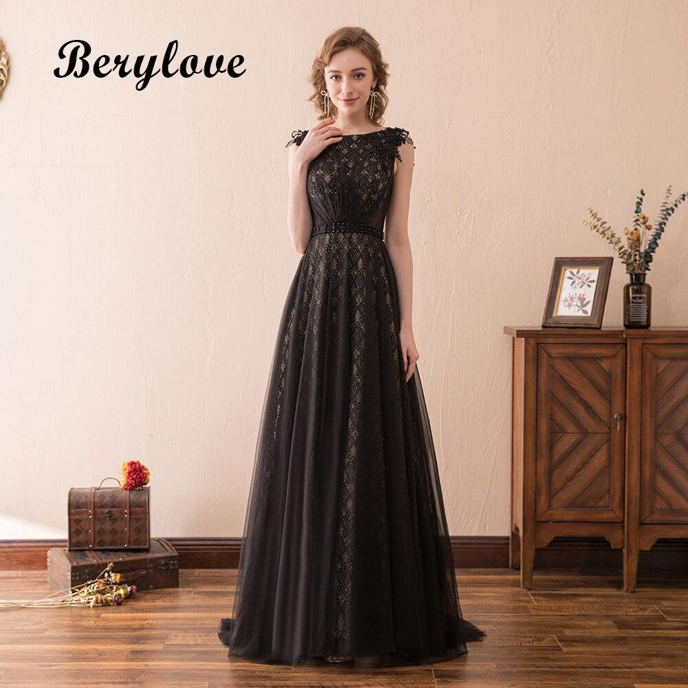 BeryLove Elegant A Line Black Lace Evening Dresses 2018 Long Evening ...