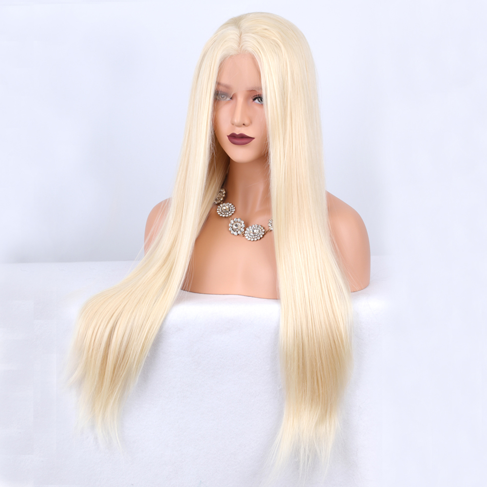 Light Blonde Silky Straight Synthetic Lace Front Wigs Glueless Heat Resistant Fiber Hair with Middle