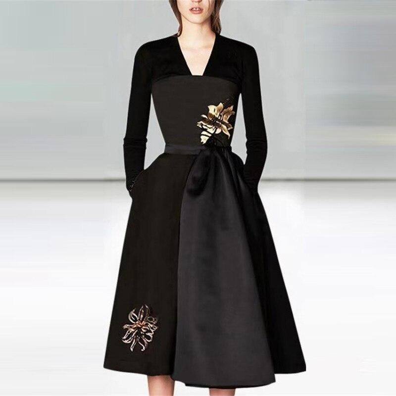 Haute qualité automne hiver robe 2018 nouvelle mode piste femmes v-cou robe noire à manches longues broderie Patchwork robe de soirée