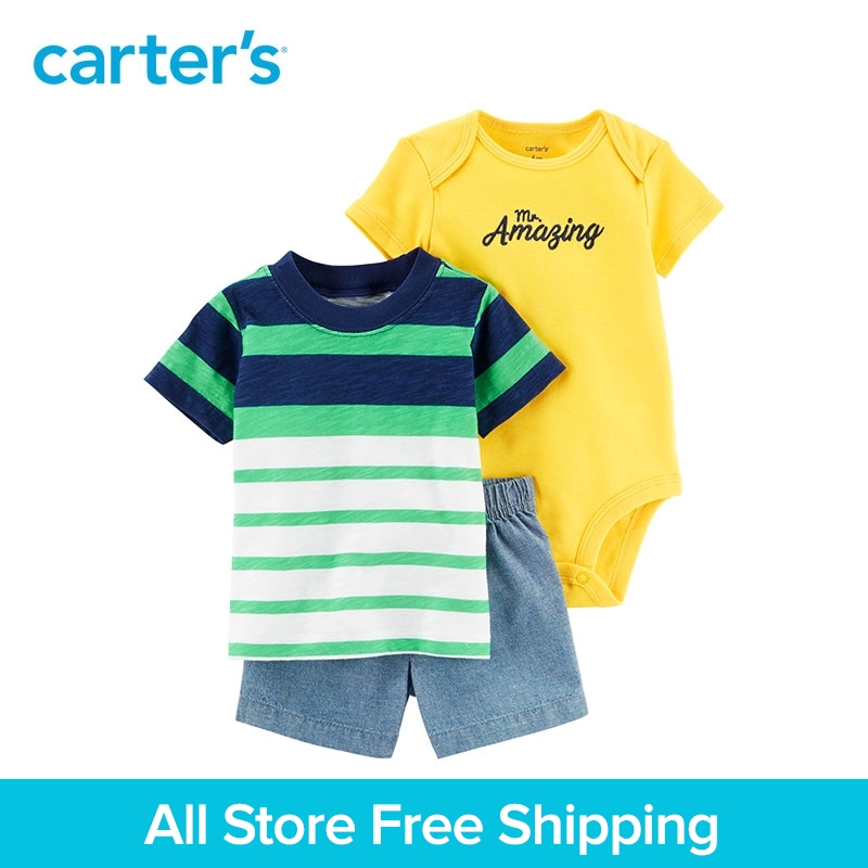 3pcs striped Tee bodysuit chambray shorts clothing sets Carter's baby Boy soft cotton Summer 121I416 contrast trim ribbed tee with striped shorts