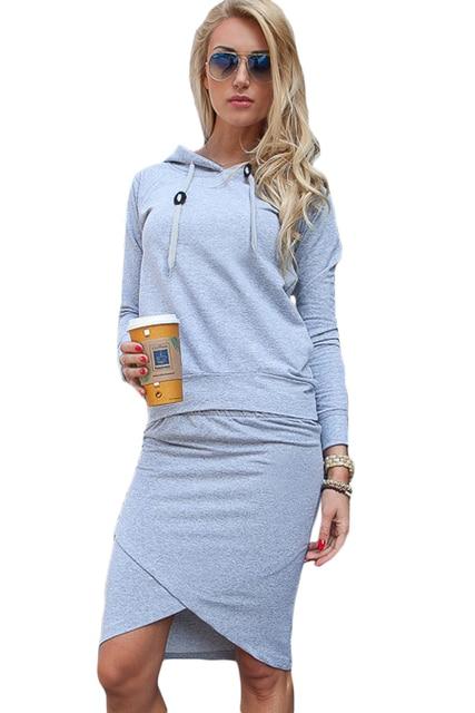 Adogirl Women 2 pieces Skirt Sets 2016 Autumn Winter Sale Lady Female Hooded Hoodies and Criss Cross Pencil Skirt Set vestidos