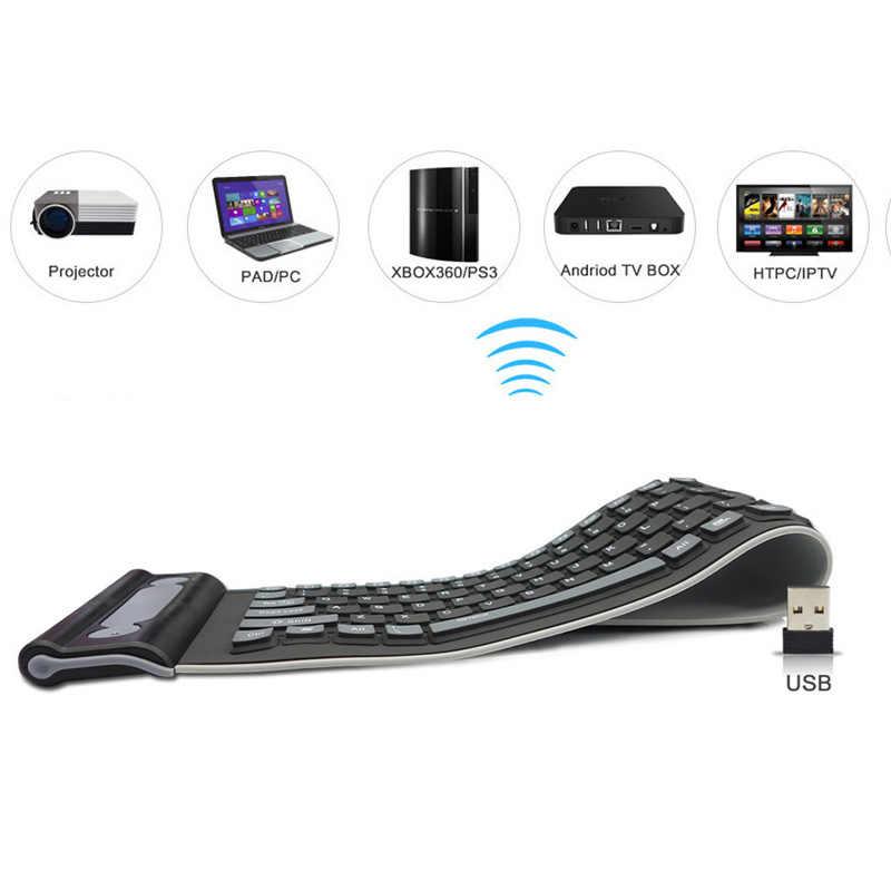 Portable USB Silicone Keyboard For Laptop PC Flexible Waterproof Foldable  Keyboard Wireless Soft Keys Mini Cover Notebook