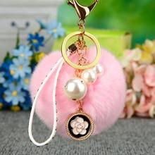 Fur Keychain Fluffy Rabbit Fur Ball Pom Pom Keychain Pearl Key Chain Women Bag Charm Trinket Gold Key Ring Car Accessory Jewelry