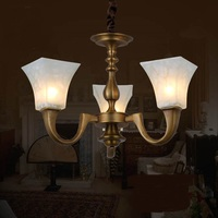 copper lamp imitation marble pendant lights of American retro restaurant bedroom living room lighting copper lamp ZH