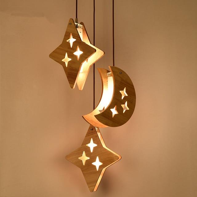 E27 Bulb Modern Simple Wood Moon Stars Hanging Light Lighting Creative Wooden Kid Bedroom Pendant Lamp Fixture Pl522