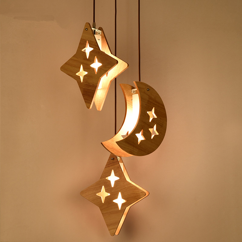 E27 Bulb Modern Simple Wood Moon & Stars Hanging <font><b>Light</b></font> Lighting Creative Wooden Kid Adult Bedroom <font><b>Pendant</b></font> Lamp Fixture PL522 image
