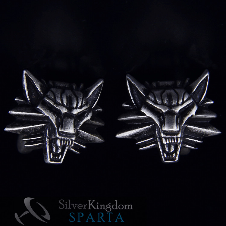 SPARTA Antic Silver Plated 3D Wizard <font><b>Wolf</b></font> Head <font><b>cufflinks</b></font> men's Cuff Links + Free Shipping !!! metal buttons image