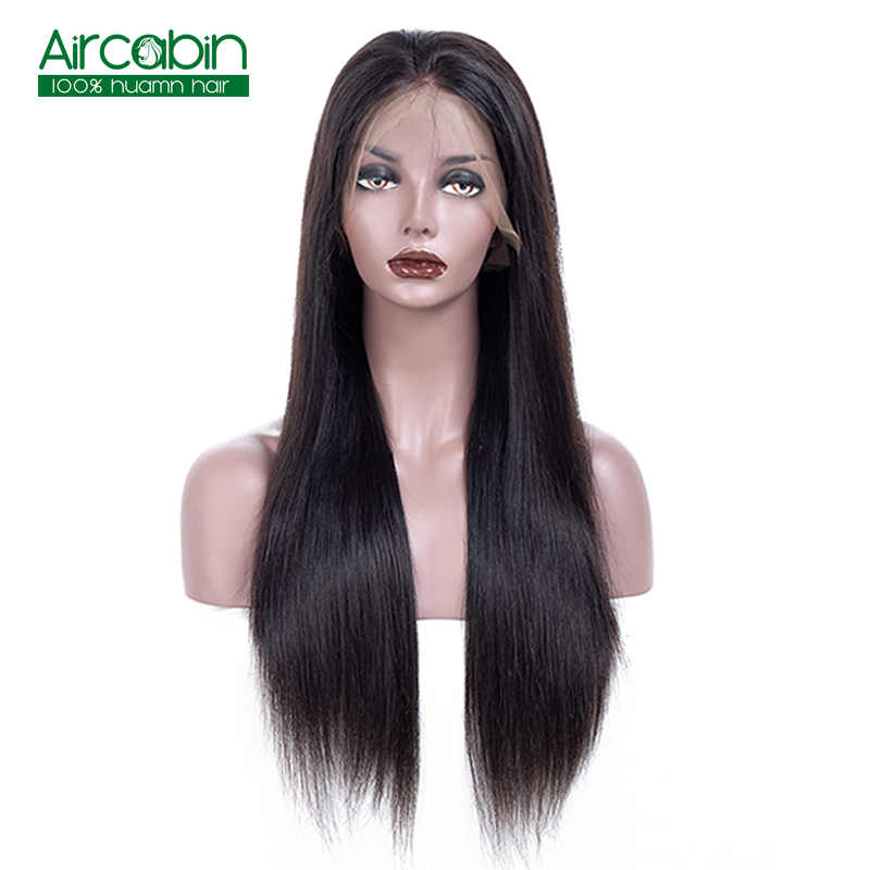 Lace Front Human Hair Wigs With Baby Hair Brazilian Straight Hair Lace Front Wig AirCabin Remy Hair Lace Wigs Natural Black