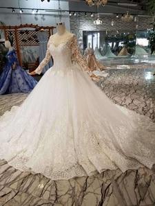Image 3 - HTL109 vestidos de boda de estilo occidental puro nuevo cuello redondo apliques largos de tul mangas vestido de novia de la muchacha