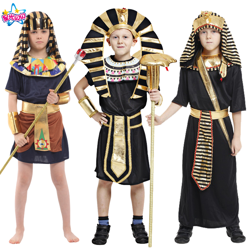 Free Shipping Boys Egypt Costume Elegant Pharaoh Cosplay Costume Halloween Carnival Fancy Dress Party Decor King Knight Costume