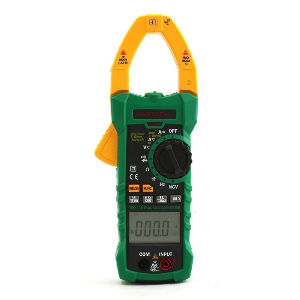 1pcs MASTECH MS2115B True RMS Digital Clamp Meter Multimeter DC AC Voltage Current Ohm Capacitance Frequency Tester with USB auto range handheld 3 3 4 digital multimeter mastech ms8239c ac dc voltage current capacitance frequency temperature tester