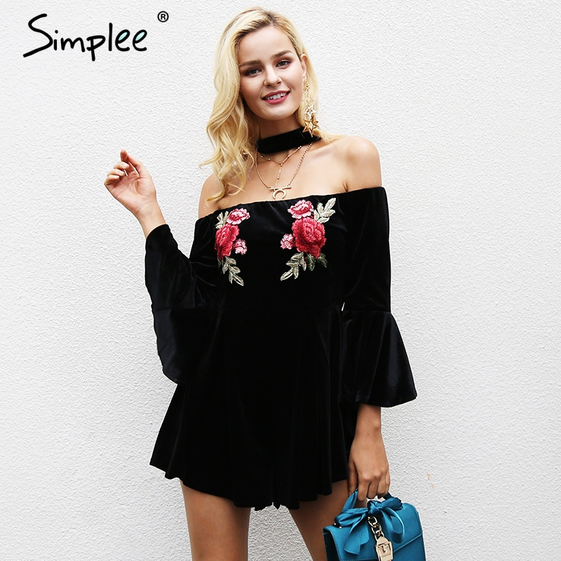 Simplee Embroidery Off Shoulder Halter Jumpsuit Romper Women Flare Sleeve Short Overalls Streetwear Casual Velvet Playsuit