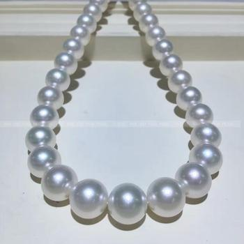 Women Gift word 925 Sterling real The Philippines sea pearl 10 12mm Nanyang pearl necklace Necklace