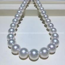 Women Gift word 925 Sterling silver real The Philippines sea pearl 10 12mm Nanyang pearl necklace