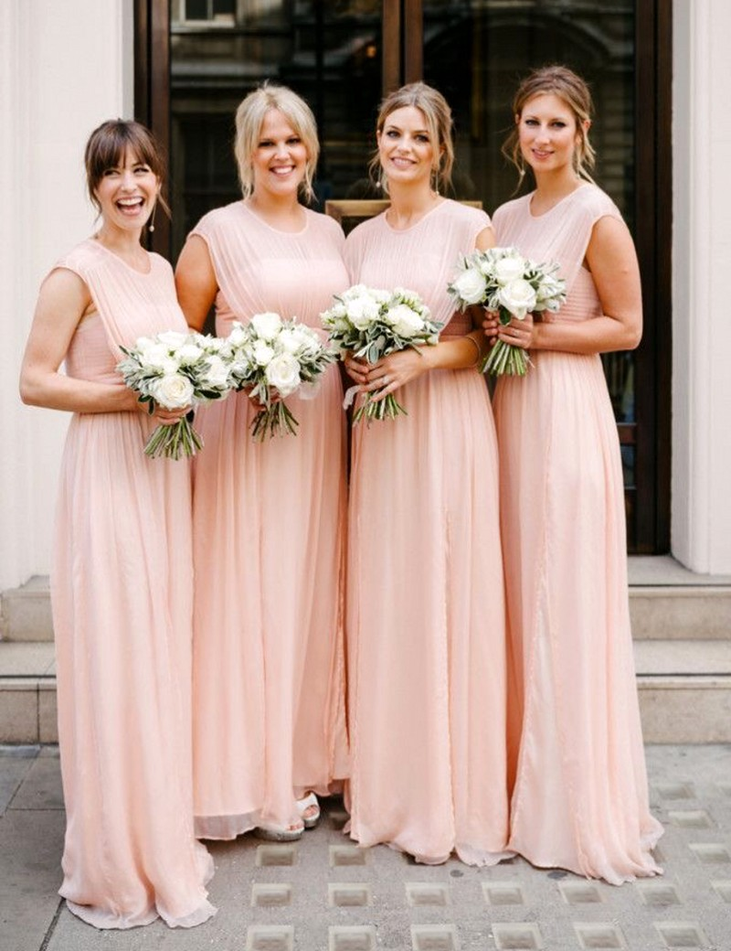 Lovely cute baby pink long bridesmaid gowns bluepeachivory lovely cute baby pink long bridesmaid gowns bluepeachivorychampagnesilvercoralred chiffon bridesmaid dresses fast shipping in bridesmaid dresses from ombrellifo Gallery