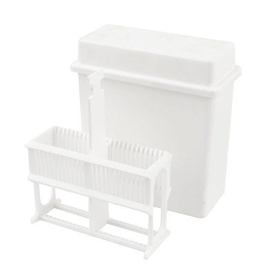 Lab White Plastic 24 Positions Slide Staining Jar Frame Box Rack Stand