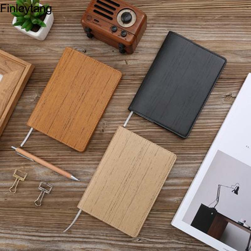 Black Notebook A6 PU Leather Can be torn Wood Notepad Stationery Travel Planned with Mol ...