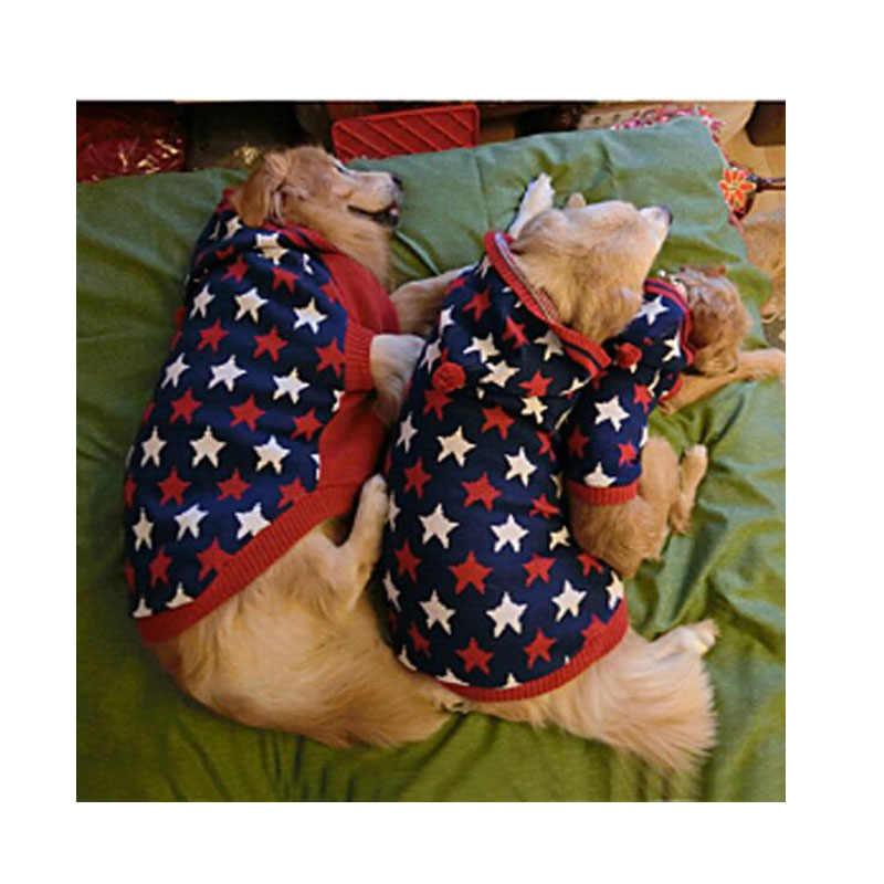 Свитера для домашних собак зимняя одежда для собак со звездами свитер для больших собак Samoyed золотистый ретривер костюмы с капюшоном одежда