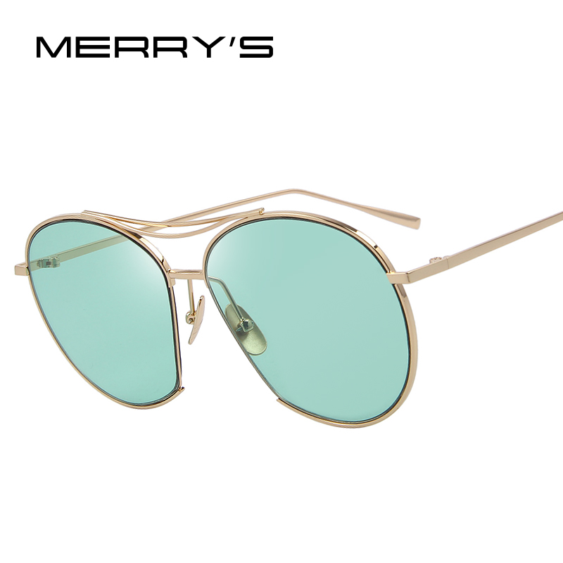 MERRYS Women Bang Fashion Sunglasses Classic Brand Designer Sunglasses Vintage Twin Beam Metal Frame Glasses S8006